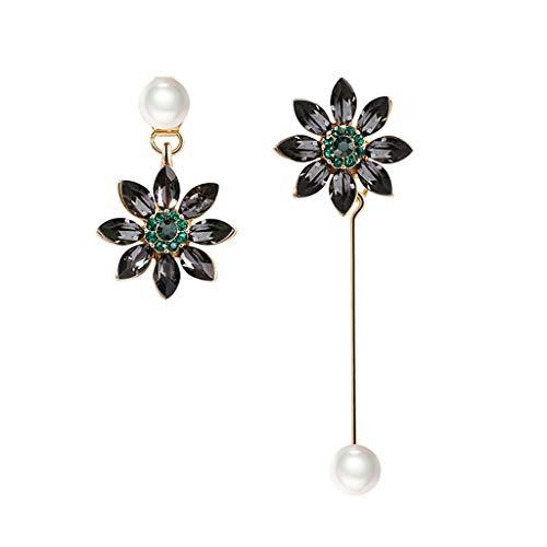 Pendientes de regalo pendientes de metal flor en forma de joyería larga asimetría borla cuelgan agujas de gota pendientes para mujeres pendientes de moda