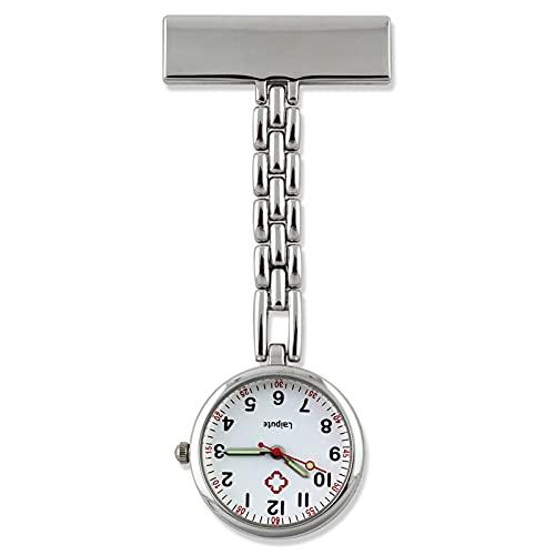 JR2021FF Relojes Fob Reloj de Bolsillo de la Aguja Luminosa de la Moda Linda de la Moda y de Las Mujeres Reloj de Bolsillo Durable de Metal Reloj de Bolsillo de Cuarzo (Color : Silver B)