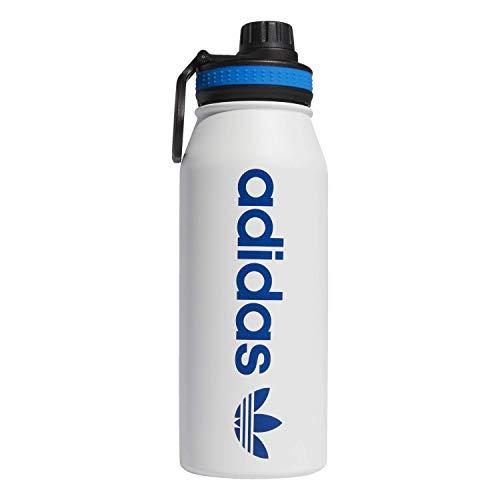 adidas Originals Botella de metal aislada de acero inoxidable 18/8, color blanco/Bluebird, 1 litro