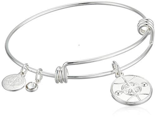 Alex and Ani Halos & Glories, Logo Shiny Silver Bangle Bracelet