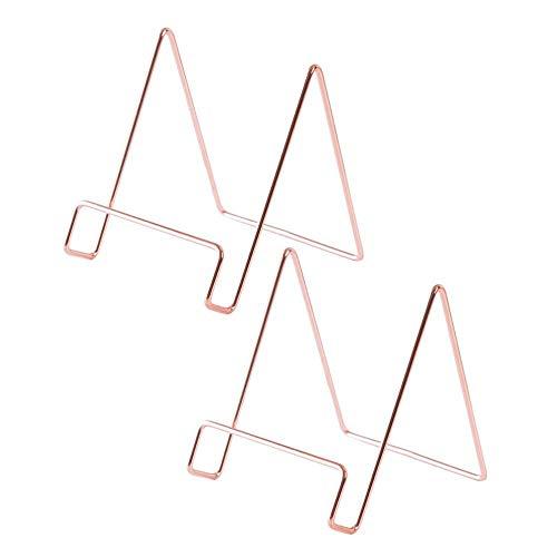 BR Books - Paquete de 2 soportes para libros de almacenamiento geométricos creativos, soportes para revistas, 1 soporte de metal enrejado para tabletas simples para decoración de escritorio de oficina