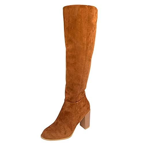 RTPR Botas por encima de la rodilla para mujer con tacón cuadrado y cierre de cremallera, botas largas, botas de invierno sexys, botas altas de tacón alto, botas de tacón alto, marrón, 37 EU