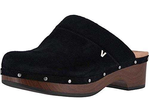 Vionic Women's Day Kacie Clog - Ladies Slip-on Mule with Concealed Orthotic Arch Support Black Suede 7 M US