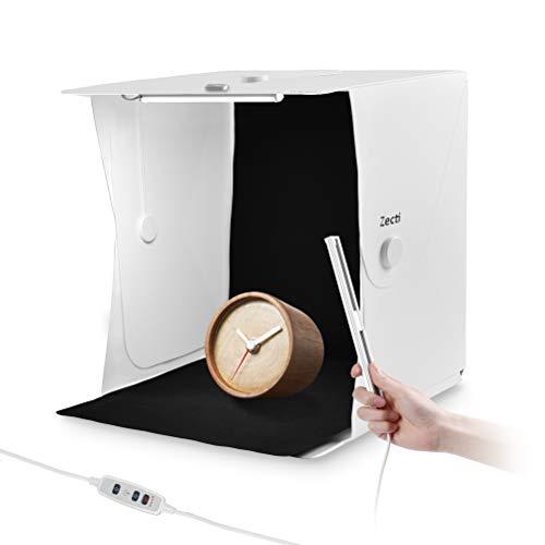 Zecti Light Box, 40 * 40cm Box Fotografico con 2x Luci a LED, Professionale Tenda Studio Light Box Fotografico, 4 Inferiore Canvas (Nero/Bianco/Blu/Verde)