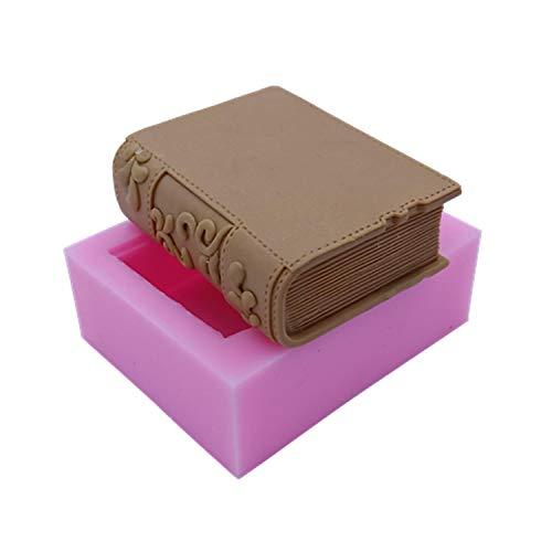Molde de pan de jabón Nuevo diseño de libro Molde de jabón de silicona Molde de vela Moldes de silicona 3D para la fabricación de artesanías de chocolate de pastel de jabón-,