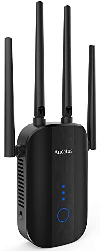 Ancatus-WiFi Extender AC1200 1200 sq.ft. 25Devices 1200Mbps Ethernet Extender Dual Band WiFi Booster for House WiFi Repeater Repetidor de Señal WiFi Amplifier(A2) WPS Wall Plug Design
