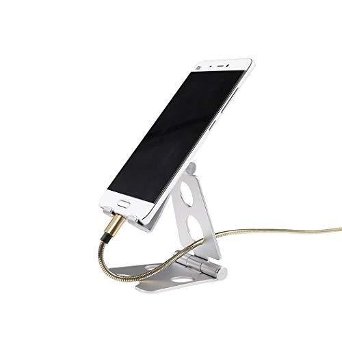 BEHO-Trends Handyhalter für Tisch, Phone Holder, Smartphone Stand, Tablet Ständer höhenverstellbar, Handyständer, Tischhalterung, Handyhalterung, Halterung verstellbar, Flexy Stands,(Silber)
