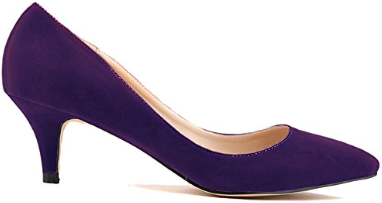 Beinfaith Women's Faux Velvet Cone Heels Pumps Slip ONS