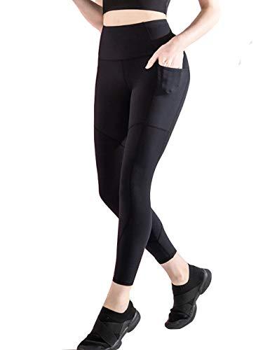 Pinkpum Leggings Damen Slim Fit Yogahose Sporthose Fitnesshose Hohe Taille Laufhose Yoga Tights Sport Leggings für Damen mit Taschen Schwarz XXL