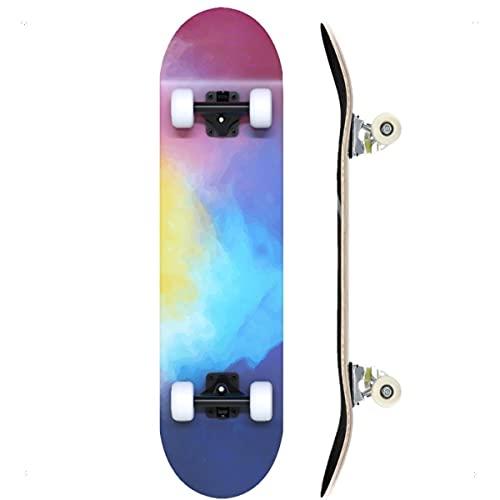 """TACKLY Skateboard Adulto Completo 7-9 Capas/Layers – monopatín Skate 31""""x8 Madera de Arce para niños y Adultos Unisex – Apto para Todos los Niveles Principiante intermedio avanzado (Cosmos)"""