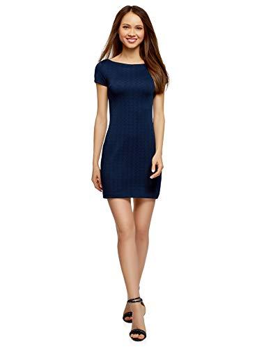 oodji Ultra Damen Kleid aus Strukturiertem Stoff mit U-Boot-Ausschnitt, Blau, DE 40 / EU 42 / L