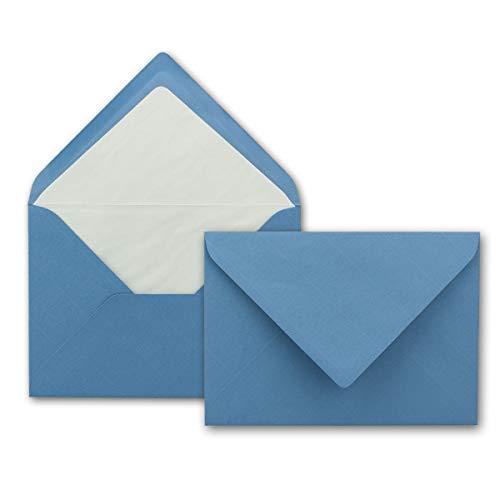 Kuverts in Himmelblau 50 Stück Brief-Umschläge in DIN B6-12,5 x 17,6 cm Geripptes Papier - hochwertiges Seidenfutter für Weihnachten & Festliche Anlässe