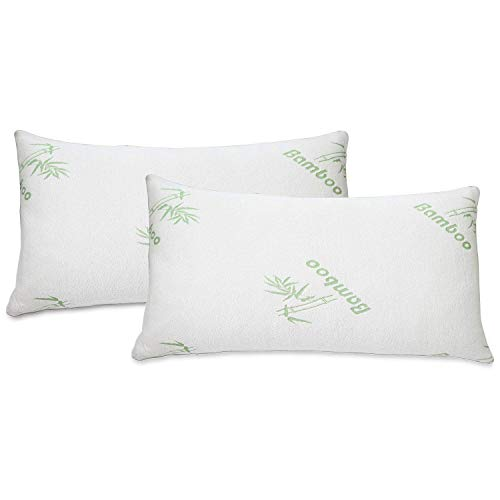 J&V TEXTILES Ultra-Luxury Bamboo Memory Foam Pillow – Hypoallergenic Bed Pillow Outer Fabric Covering 2-Pack (King)