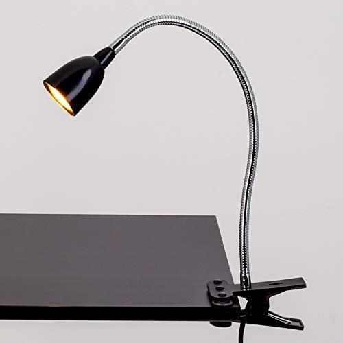 Lindby LED Klemmleuchte 'Rabea' (Modern) in Schwarz aus Metall u.a. für Arbeitszimmer & Büro (1 flammig, A+, inkl. Leuchtmittel) - Tischlampe, Tischleuchte, Leselampe, Nachttischlampe