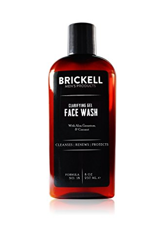 Brickell Men's Clarifying Gel Face Wash for Men, Natural and Organic Rich Foaming Daily Facial...