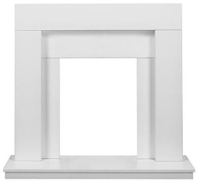 Adam Malmo Fireplace in Pure White & Black/Pure White, 39 Inch