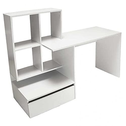 ADGO Taco2 Escritorio para portátil con 1 cajón y 4 estantes, 51,6x145x111,5cm, mesa de oficina para ordenador portátil, con espacio de almacenamiento, color blanco mate (envío en 2 paquetes)