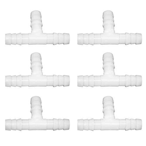 """JoyTube 5/16"""" Plastic Hose Barb Fittings Equal Barbed Tee Pipe Connectors 3 Way Joint Splicer Mender Union Adapter for Boat Aquarium (Pack of 6)"""