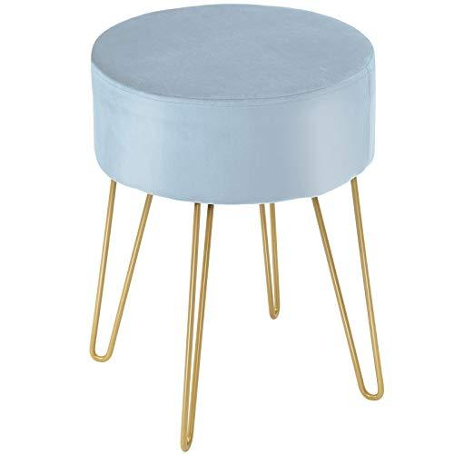 RELAX4LIFE Runder Schminkhocker, Sitzhocker mit weichem Sitz, Polsterhocker mit robusten Metallfüßen, moderner Fußhocker für Wohnzimmer & Schlafzimmer, Samthocker bis zu 100 kg belastbar (Blau)