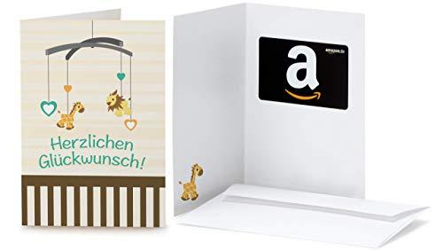 Amazon.de Geschenkkarte in Grußkarte (Baby Glückwünsche)