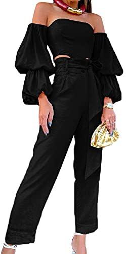 Pulkritu Women Two 2 Piece Set - Off shoulder Shirt Tops and Pants Suit Matching Set Outfits (M,Black)