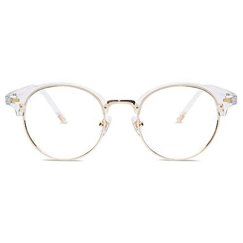 SOJOS - Gafas redondas transparentes para mujer con bloqueo de luz azul, sin receta antifatiga ocular SJ5079