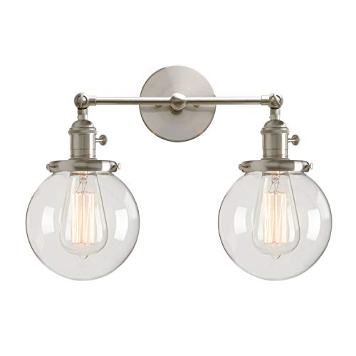 Permo Double Sconce Vintage Industrial Antique 2-Lights Wall Sconces with Dual Mini 5.9 Round Clear Glass Globe Shade (Brushed)