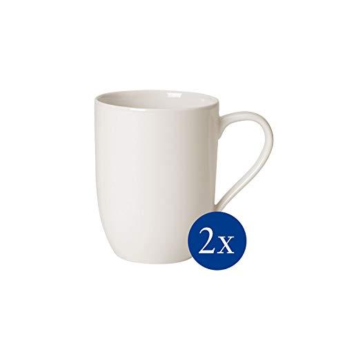 Villeroy & Boch For Me - Tazas de café, Juego de 2 piezas, 370 ml, porcelana premium, color blanco