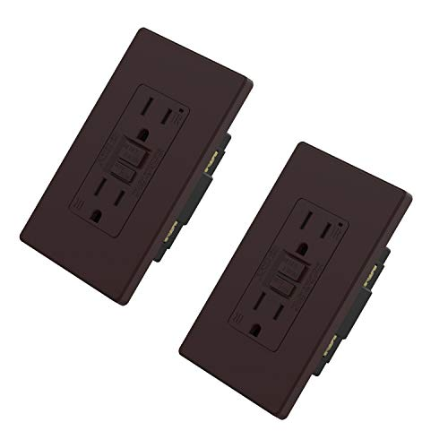 ELEGRP 15 Amp GFCI Outlet, 5-15R Narrow Design GFI Dual Receptacle, TR Tamper Resistant with LED Indicator, Self-Test Ground Fault Circuit Interrupters with Wall Plate, UL Listed (2 Pack, Matte Brown)