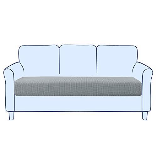 subrtex Sofa Sitzkissenbezug Stretch Sitzkissenschutz Elastischer Kissenbezüge Husse Überzug Bezug für Sofa Sitzkissen (3 Sitzer, Hellgrau)