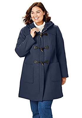 Woman Within Women's Plus Size Classic Duffle Coat - 20 W, Navy by Woman Within