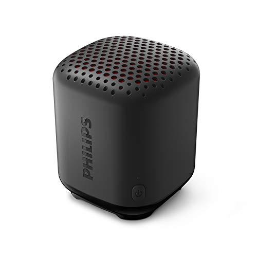 Philips Altavoz Inalámbrico Bluetooth S1505B/00 (Durabilidad, Resistencia al Agua IPX7, 8 Horas Reproducción, Radiador Pasivo, 20 m de Alcance, Incluye Correa de Transporte) Negro - Modelo 2020/2021