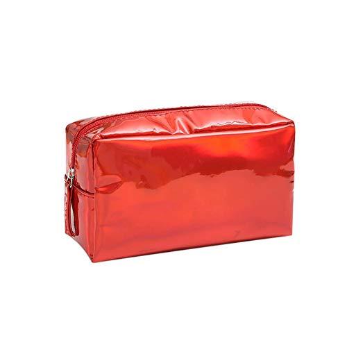 Confortabil Kosmetiktasche Reise Kosmetiktasche Kosmetiktasche Farblaser Aufbewahrungstasche aus wasserdichtem TPU und Reißverschluss, geeignet für Frauen und Mädchen (rot), rot (Rot) - M7FMZDBJUO