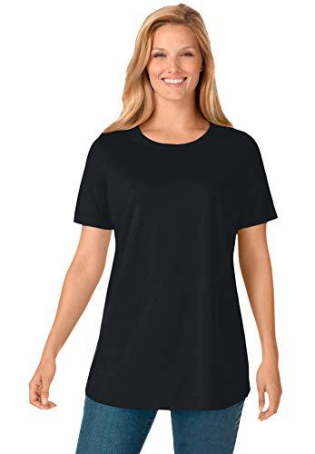 Woman Within Women's Plus Size Perfect Short-Sleeve Crewneck Tee Shirt - 1X, Black