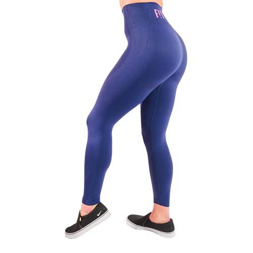 FitPink - Leggings de cintura alta para mujer con bolsillo - Esculpt - Leggings de compresión sin costuras - Revolucionario suave elástico en los 4 sentidos - Talla firme azul. 42