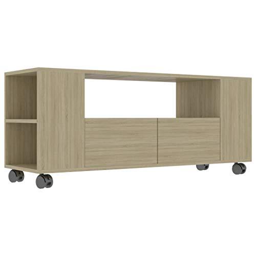 Goliraya Mueble para TV Moderno Salon Aglomerado Color Roble Sonoma con 2 Cajones y Ruedas,Mueble TV con Ruedas,Mueble TV con Cajones 120x35x43 cm