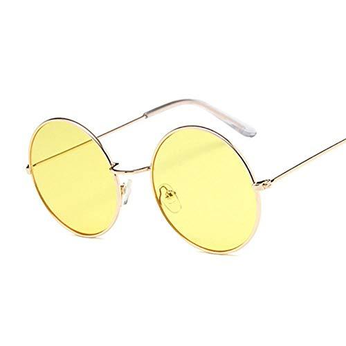 Pequeño Marco Negro Sombras Redondas Gafas De Sol Mujeres Oval Vintage Moda Rosa Gafas De Sol Mujer Adecuado para Las Compras De Viajes Al Aire Libre Y Tomar El Sol Etc-Goldyellow