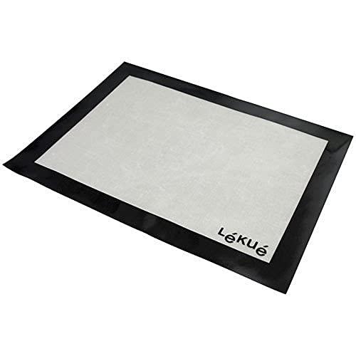Lékué Salvabandejas 40x30 Tapete de Silicona y Fibra de Vidrio, Blanco y Negro, 40 x 30 cm