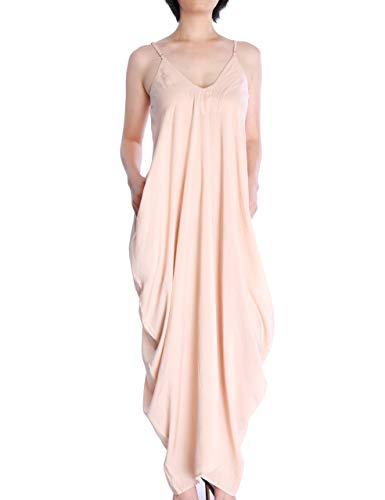 May&Maya Women's Low V-Neck and Low V-Back Maxi Dress