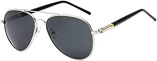 Carls Louison Polarized Aviator Metal Thick Leg Silver Black Men's and Women's Sunglasses (Silver Black)