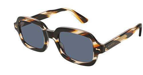 Gucci Occhiali da Sole GG0072S STRIPED BROWN/BLUE 52/0/0 uomo