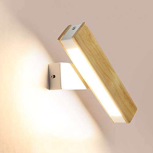 GBLY LED Wandleuchte 350° Schwenkbar Wandlampe Holz 4W Flurlampe Bettlampe, Warmweiß/Kühlweiß/Naturweiß 3 in 1 umschaltbar, 21CM für Wohnzimmer Schlafzimer Flur Treppenhaus
