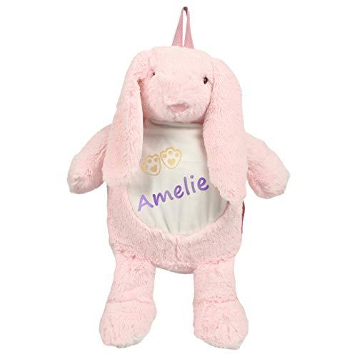 Kinderrucksack Hase mit Namen personalisiert - Kuscheltier und Plüsch Rucksack für Kinder ab 1 Jahr - zb als Mini Wanderrucksack, Kitatasche oder Beutel für Spielzeug - Kindergartenrucksack Mädchen