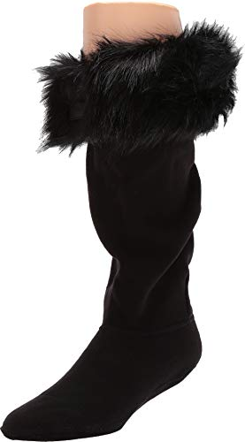 HUNTER Original Tall Faux Fur Cuff Boot Socks black, Größe:M