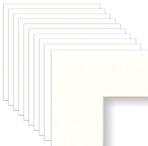Frame Amo 16x20 White Mat for Picture Frame, 9.5x12.5 Bevel Cut for 10x13 Picture or Poster, White Core, 10-Pack