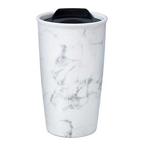 Ceramic Travel Mug - Double Wall Insulated Tumbler with Wrap Lid 12 oz Coffee Travel Mug Suitable for Both Hot and Cold Beverage Marble Coffee Mug for Women