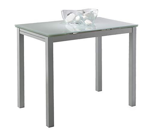 Miroytengo Mesa Cocina Cristal Extensible Color Blanco Estilo Moderno Comedor 100-140x76x60 ⭐
