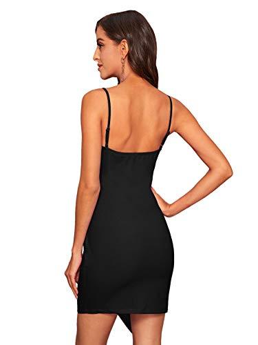 Soly Hux - Vestido corto ajustado para mujer, sin mangas, con tirantes, elegante, asimétrico, con pliegues, Negro , M