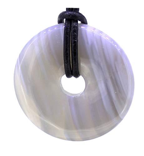 Achat Donut Anhänger 30 mm mit Lederband, Edelsteindonut Kettenanhänger Lace-Achat