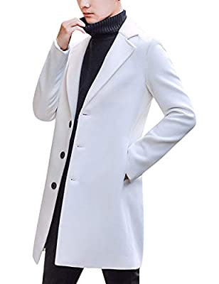 Springrain Men's Notched Lapel Single Breasted Long Pea Coat Trench Coat (White, Large) by